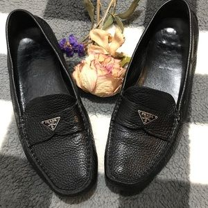 PRADA Women's Black Pebbled Leather Loafer Size 7M